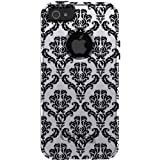 CUSTOM OtterBox Commuter Series Case for iPhone 5 5S - Damask Pattern (White & Black)