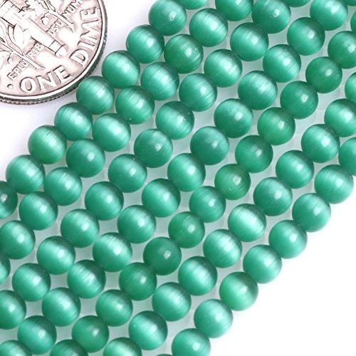 GEM-Inside Cat Eye Gemstone Loose Beads 4mm Round Drak Green Crystal Energy Stone Power Beads for Jewelry Making 14 inch ()