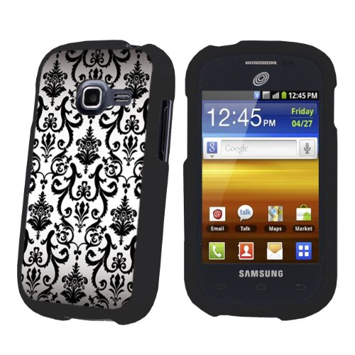 Black Protection Designer Case for Samsung Galaxy Centura S738C - (White Vintage Flower)