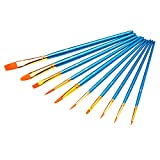 #10: EIALA 10 PCS Round Pointed Tip Nylon Hair Paint Brush Set for Watercolor Oil Acrylic Painting (Blue)