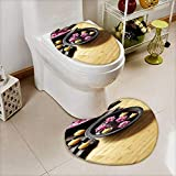 also easy Bathroom Non-Slip Floor Mat light bamboo parquet floor with thai ornaments Cushion Non-slip