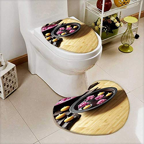 also easy Bathroom Non-Slip Floor Mat light bamboo parquet floor with thai ornaments Cushion Non-slip by also easy