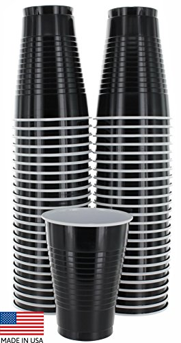 Amcrate Black Colored 12-Ounce Disposable Plastic Party Cups - Ideal for Weddings, Party's, Birthdays, Dinners, Lunch's. (Pack of - White Orgy Black