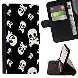 Graphic4You Skulls Death Pirate Pattern Design Thin Wallet Card Holder Leather Case Cover for Samsung Galaxy S8