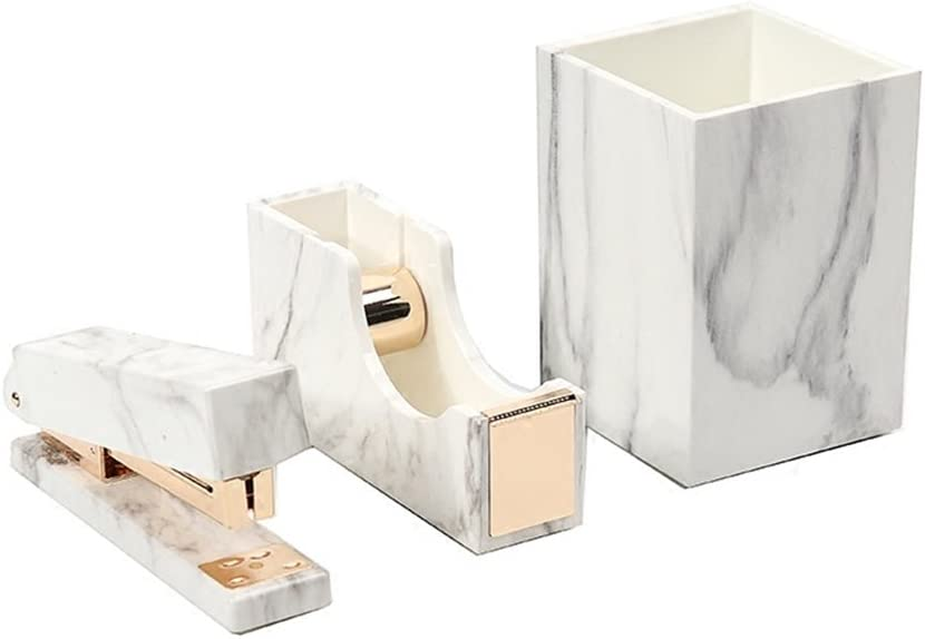 Office Stationery Kit White Marble Print Desk Pen Holder Cup | Tape Dispenser | Desktop Staplers Gold Tone School Accessories Supplies Gift Set (Pen Holder & Tape Dispenser & Stapler)