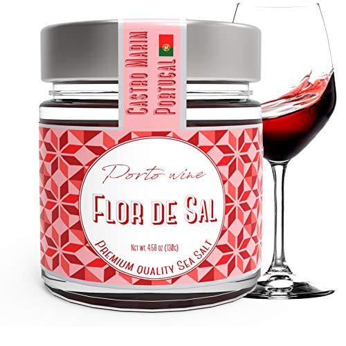Merlot Salt - Fleur De Sel, Sea Salt with Porto Wine from Portugal, Campo de Sal, 4.5 Oz