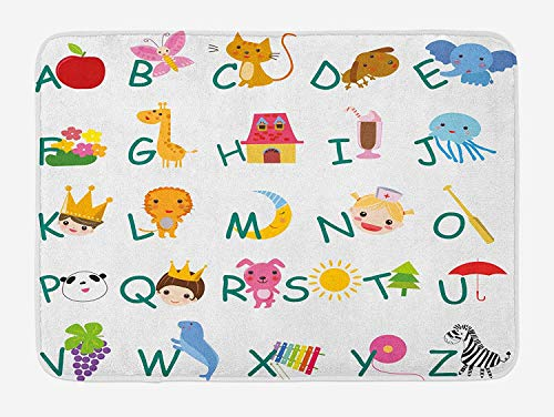 (Weeosazg Educational Bath Mat, Cute Kids Alphabet with Fruits Animals Prince Princess Cheerful Colorful Design, Plush Bathroom Decor Mat with Non Slip Backing, 23.6 W X 15.7 W Inches,)