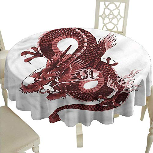 SKDSArts Round Tablecloth Vinyl Dragon,Japanese Noble Monster D70,for Umbrella Table]()