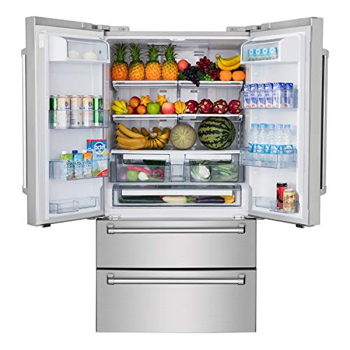 Thor Kitchen 36 inch Refrigerator, Counter Depth French Door Stainless Steel Refrigerator with 5.69 cu.ft Freezer, 15.16 cu.ft Fridge and Automatic Ice Maker