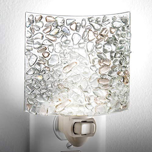 J Devlin NTL 155 Fused Clear Chips Glass Night Light Decorative Modern Home Accent Lite Bathroom Bedroom Kitchen Nursery (Art Glass Night Light)