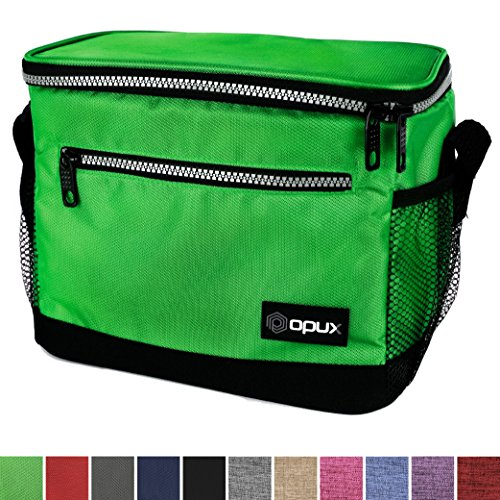 Soft Insulated Lunch Box (OPUX Premium Insulated Lunch Bag with Shoulder Strap | Lunch Box for Adults, Kids | Soft Leak Proof Liner | Medium Capacity Lunch Cooler for Office, School | Fits 6 Cans (Green))