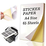 65 Sheets Sticker Paper A4 Size Glossy Self Adhesive Full Sheet Labels for Inkjet and Laser Printers by Happlee