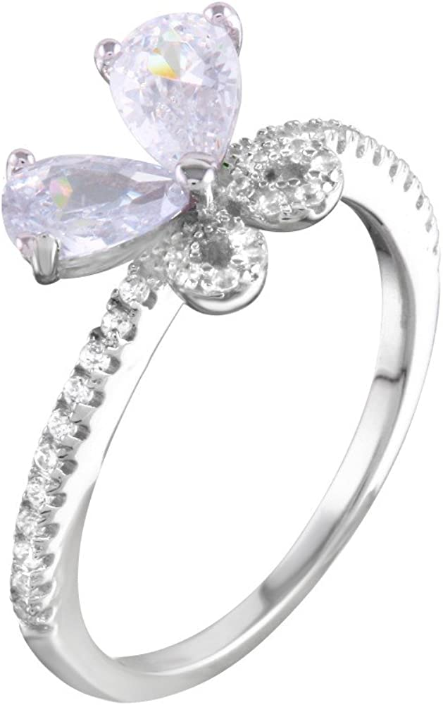 Clear Cubic Zirconia Butterfly Ring Rhodium Plated Sterling Silver