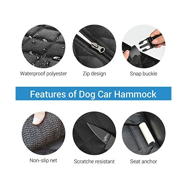 NICREW Dog Car Seat Cover Hammock with Seat Belt 3