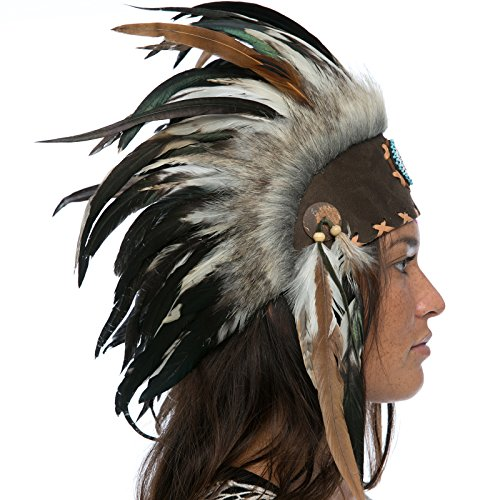 Costumes Man Burning (Unique Feather Headdress- Native American Indian Inspired- Handmade by Artisan Halloween Costume for Men Women with Real Feathers - Natural with)