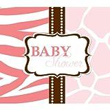 Creative Converting Baby Shower Wild Safari Pink 25 Count Enhanced Invitations