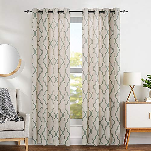 jinchan Print Curtains Moroccan Tile for Living Room- Quatrefoil Flax Linen Blend Textured Geometry Lattice Grommet Window Treatment Set for Bedroom - 50