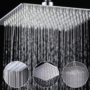 Lavish Chief - Inch Stainless Steel Bathroom Square Silver Pressurize Rainfall Shower Head Chrome Finish - Exhibitioner Principal Headspring Significant Exhibitor Boss Direct Oral - 1PCs
