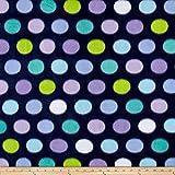 Newcastle Fabrics Polar Fleece Print Fun Dot Navy Fabric by The Yard, Navy