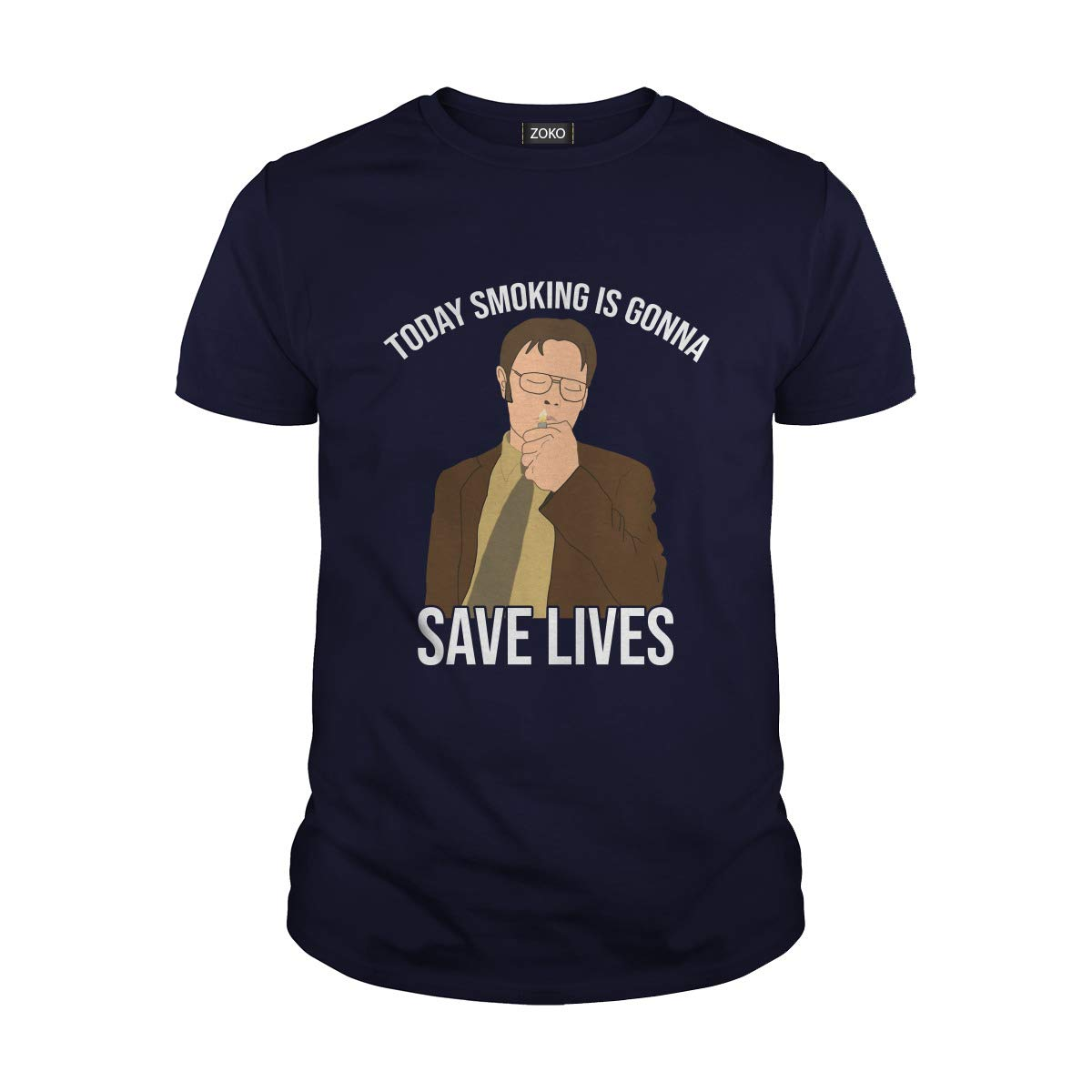 Guys Tee Navy Large Zoko Apparel Today Smoking is Gonna Save Lives TShirt