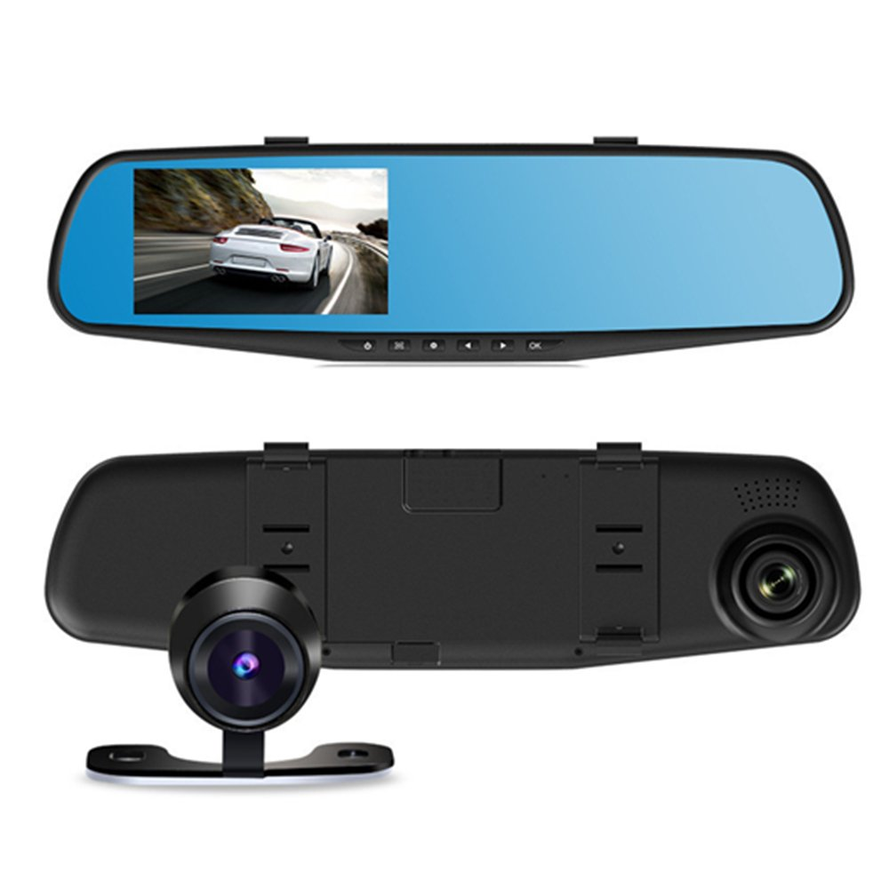 Micho Dual Lens Car Camera, 1080P Dash Cam and Vehicle Recorder, 4.3 Inch G-Sensor Mirror Car Dashboard, 170° Wide Angle Lens with Front and Waterproof Rear Camera (16GB SD Card Included)