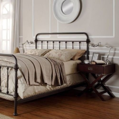 amazoncom antique finish dark bronze queen size metal bed this victorian brass bed style frame has a vintage iron look perfect for any bedroom furniture - Antique Queen Bed Frame