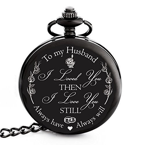 "Anniversary Gifts for Men | Valentines | Christmas Gift for Husband from Wife – Engraved ""To my Husband"" Pocket Watch 