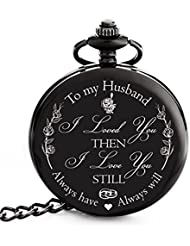 """Valentines Gift for Husband   Anniversary Gifts for Men   Engraved """"To my Husband"""" Pocket Watch - Gift for Husband from Wife for Birthday / Happy Anniversary!"""