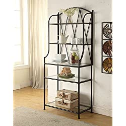 5-tier Black Metal Glass Shelf Kitchen Bakers Rack Scroll Design