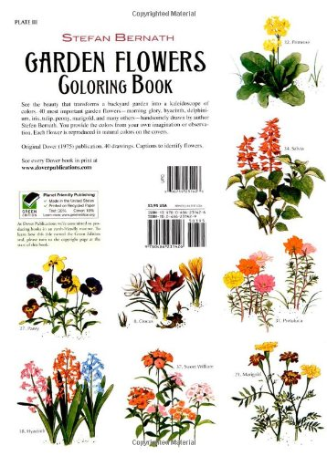 Garden Flowers Coloring Book Dover Nature Stefen Bernath 8601300292748 Amazon Books