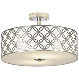restaurant light fixtures - SOTTAE Luxurious 13 Inches Creamy White Glass Diffuser Chrome Finish Flush Mount Ceiling Light, Ceiling Light Fixture For Living Room Bedroom