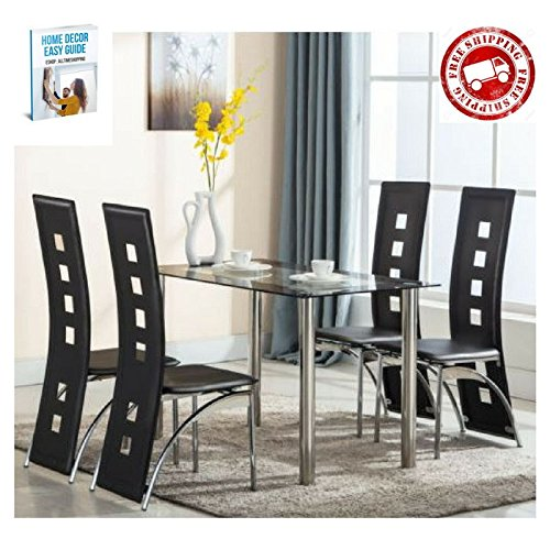 Dining Room Furniture Set Chairs Table Formal Kitchen Dining Room Chairs Upholstered Pad Black Modern Glass Dining Room Table Leather Contemporary Comfortable Breakfast & eBook by AllTim3Shopping