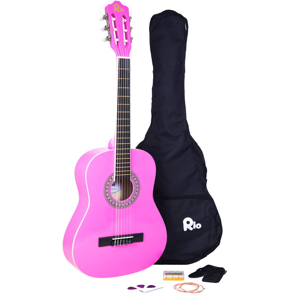 Rio 3/4 Size Natural Classical Guitar Pack For Kids Beginners - Suit 9 To 12 Years - Inc Bag, Strap, Picks, Pitch Pipes - New RayGar 37