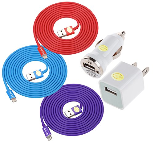 6 Ft Top Quality Heavy-Duty Tangle-Free USB 2.0 to 8 Pin Apple Lightning Cable + Wall Travel Charger Car Charger for iPhone 6, 6Plus, 5, 5c ,5s, iPad 4, iPad mini, iPod nano 7, iPod 5G (red.blue.purple)