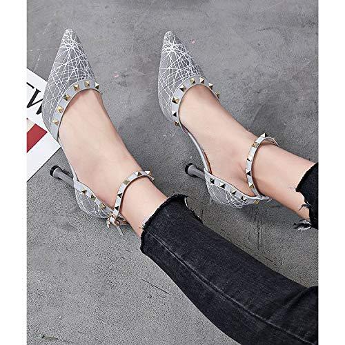 Sandales avec mariée travail Chaussures hauts de pour talons grises à Sangle épingle cheville noire femme de 4w4xARq