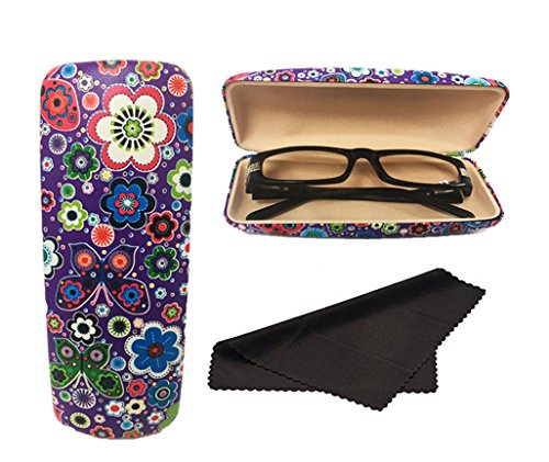 Glasses Case, Hard Shell Stylish Protects Sunglasses Storage For Reading Eyeglasses & Eyewear Clamshell Holder With Cleaning Cloth (Purple - Floral)