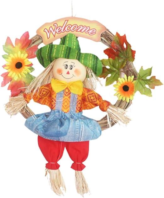 VOSAREA - Espantapájaros colgante espantapájaros adorno espantapájaros guirnalda Halloween Thanksgiving decoración otoño cosecha decoración para fiesta escuela Home Bar jardín (grande/femenino): Amazon.es: Juguetes y juegos