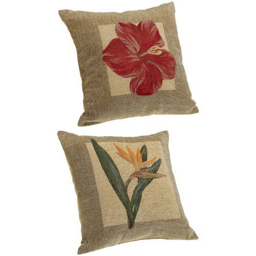 Brentwood Panama Jacquard Chenille 18-by-18-inch Knife Edge Decorative Pillow Set (1 Red Hibiscus, 1 Bird of Paradise) - Brentwood Set Sofa