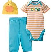 Gerber Unisex-Baby Newborn 3 Piece Bodysuit Cap and Pant Set, Duck, 0-3 Months