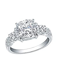 Newshe Wedding Ring for Women 2ct Princess White AAA Cz 925 Sterling Silver Engagement Size 5-10
