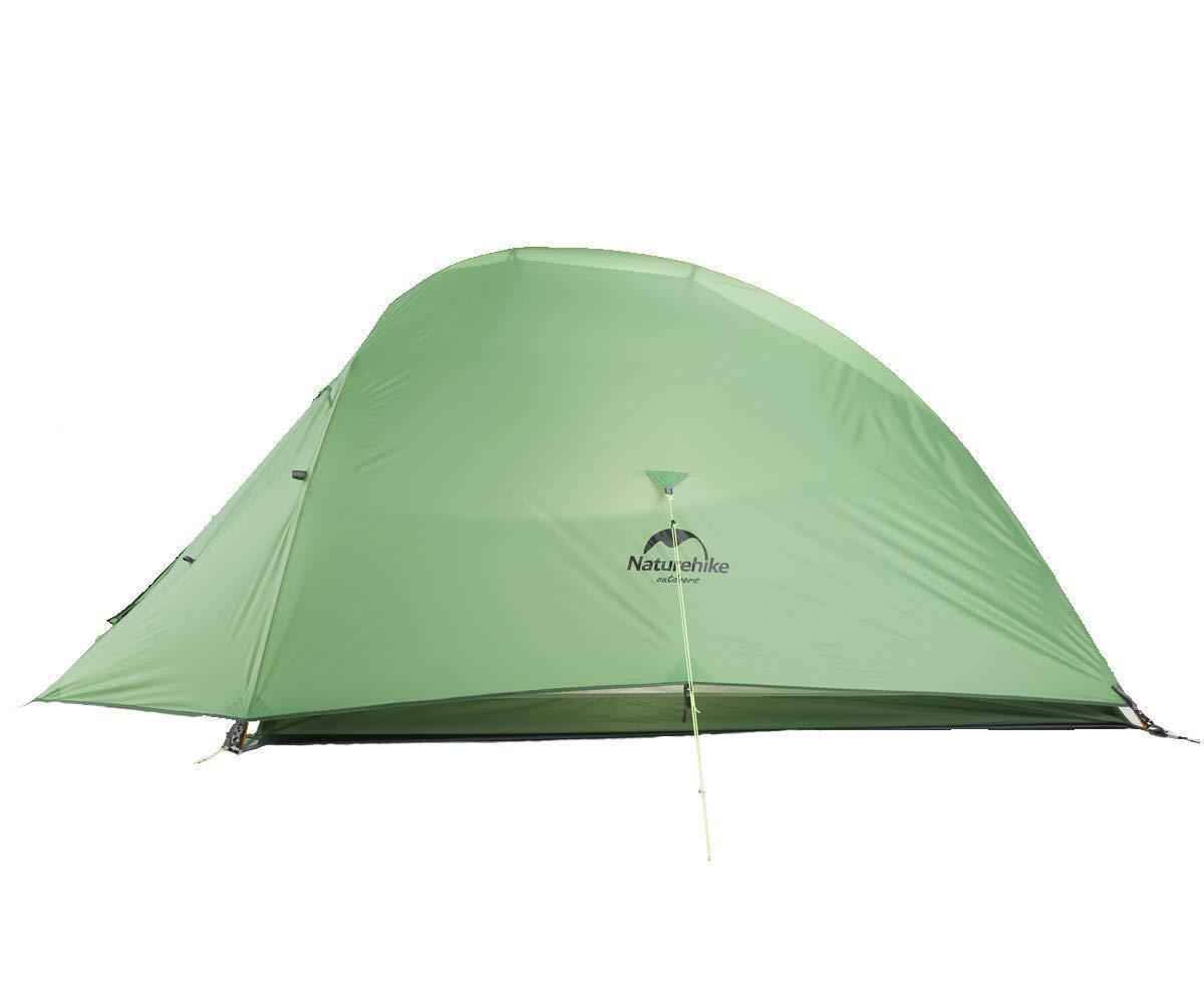 Naturehike テント 2人用 アウトドア 二重層 超軽量 4シーズン 防風防水 PU3000/4000 キャンピング プロフェッショナル テント グリーン(210Tアップグレード版)