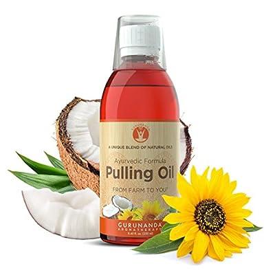 GuruNanda Oil Pulling Oil Oral Detox Oil Refreshing Ayurvedic Blend of Coconut, Sesame, Sunflower, & Peppermint Oils