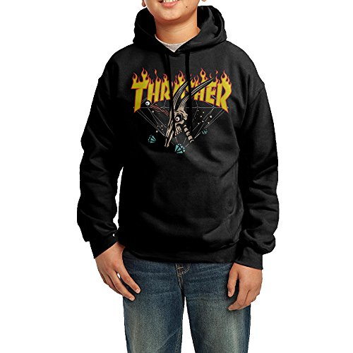 Kid's Youth Thrasher Flame Magazine Logo Hoodies Pullover Hooded Sweatshirts M ()