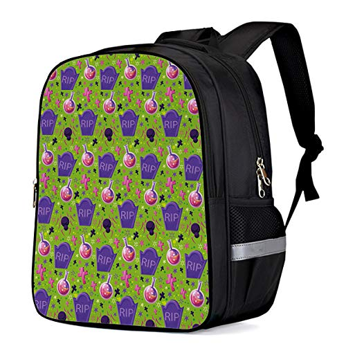 Laptop Backpacks for Kids/Teen Girls Boys, Lightweight Water Resistant College School Bags Students Bookbag Casual Travel Outedoor Daypack, Halloween Witch Magic Potion Spider Tombstone -