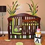 Nursery-Crib-Bedding-Set-Frog-Crib-Bedding-Set-10-Count-with-Quilt-BumperSheetCrib-SkirtToy-BagDaiper-StackerOrganizerWindow-ValancesPillowsGreenBrownLime-GreenWhite