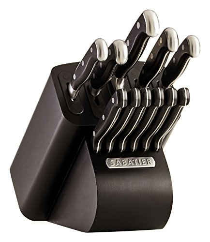 Pro Steak Knife Set - Sabatier Self-Sharpening Edgekeeper Pro 12-Piece Forged Triple Rivet Knife Block Set