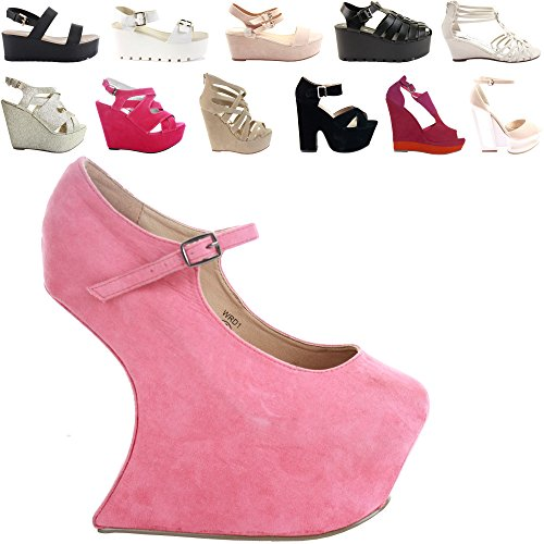 NEW WOMENS LADIES LOW MID HIGH HEEL STRAPPY WEDGES PEEP TOE SUMMER PLATFORM SANDALS SHOES SIZE Style 21 - Coral sqmLJ7NfHz