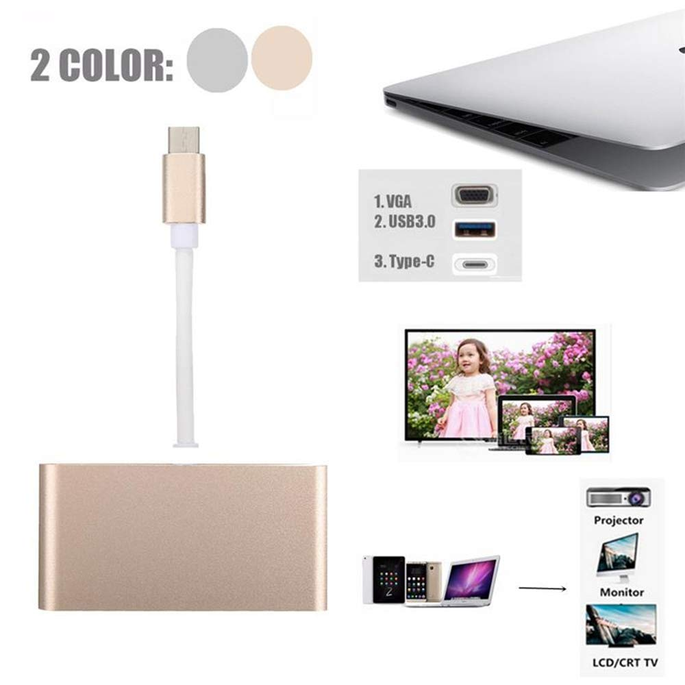 Color : Gold Gold USB Type-C Series USB Type C to VGA 3-in-1 Hub Adapter Supports USB Type C Tablets and laptops for MacBook Pro//Google ChromeBook