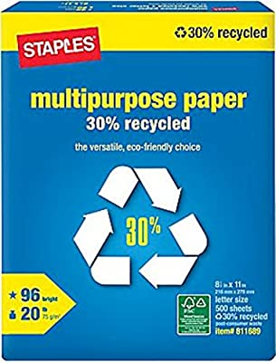 Staples 30% Recycled Multipurpose Paper, Copy Fax Inkjet Laser Printer, 8 1/2 x 11 inch Letter Size, 20 lb. Density, 96 Bright White, Acid Free, Ream, 500 Total Sheets (811689)