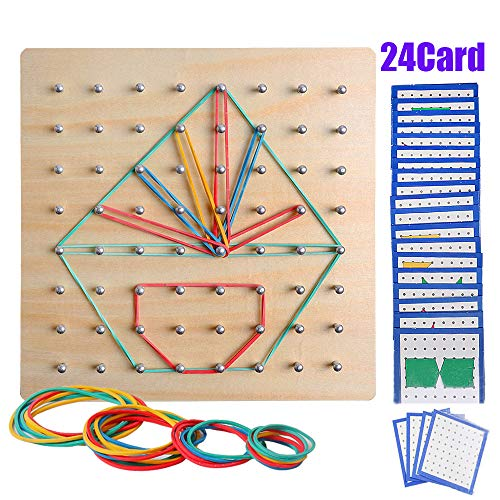 (USATDD Wooden Geoboard Mathematical Manipulative Material Array Block Geo Board Graphical Educational Toys with 24Pcs Pattern Cards and Rubber Bands Shape Puzzle Matrix 8x8 Brain Teaser for Kid STEM)
